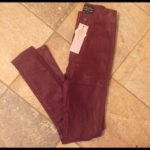 Pants - Leather like legging skinny jean high waisted pant